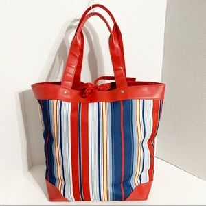 Lancôme Striped Fabric and Faux Leather Tote Bag